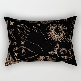 Hand drawn abstract flat graphic icon illustration sketch seamless esoteric pattern Rectangular Pillow