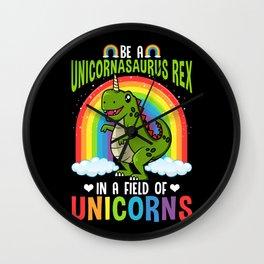 Trex Unicorn Dinosaurs Lover Colorful Rainbow Wall Clock