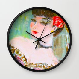 Old Paris Can Can Dancer Wall Clock