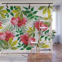 Hibiscus Flower and Leaf Wall Mural