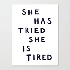 She has tried, she is tired (B&W) Canvas Print