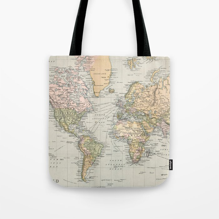 1892 Map Of The World.Vintage Map Of The World 1892 Tote Bag By Bravuramedia Society6