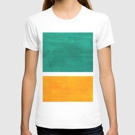 Colorful Bright Minimalist Rothko Minimalist Midcentury Art Marine Green Gold Vintage Pop Art T-shirt