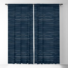 Meteor Stripes - Dark Denim Blackout Curtain