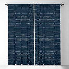 Meteor Stripes - Dark Denim Blackout Curtain