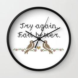 Try Again, Fail Better Cross-Stitch Print Wall Clock