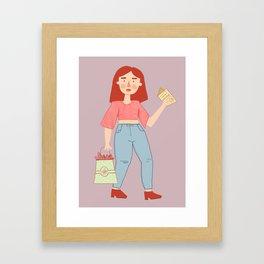 Birthday Girl Digital Drawing Cartoon Illustration Framed Art Print