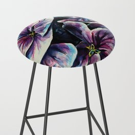 purple flowers watercolor art Bar Stool