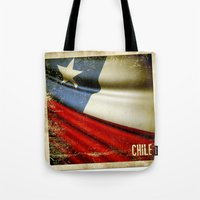 chile Tote Bags featuring Chile grunge sticker flag by Lulla