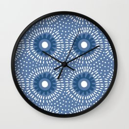Abstract geometric African blue tribal pattern with point circles hand drawn illustration pattern. Wall Clock