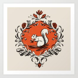 Fall Squirrel Art Print