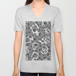pattern with symbols of photos and videos Unisex V-Neck