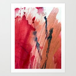 Blushing [2]: a vibrant, minimal abstract in pink, red, and blue details Art Print