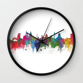 Liverpool seafront city line skyline waterfront watercolour colours colour splash by Evangelos Wall Clock