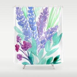 Lavender Floral Watercolor Bouquet Shower Curtain