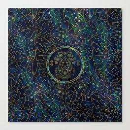 Virgo Zodiac Gold Abalone on Constellation Canvas Print