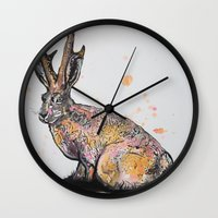 jackalope Wall Clocks featuring Jackalope by Joseph Kennelty