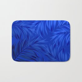 Palm Tree Fronds Brilliant Blue on Blue Hawaii Tropical Décor Bath Mat