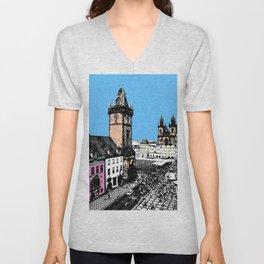 Prague old city Unisex V-Neck