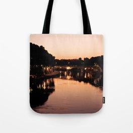 Tiber river at sunset Tote Bag