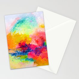 Colorful Bright Abstracted Landscape Painting. Version 2 - Bright Neon Stationery Cards