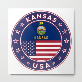 Kansas, Kansas t-shirt, Kansas sticker, circle, Kansas flag, white bg Metal Print