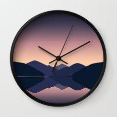 Mountain sunset reflection Wall Clock