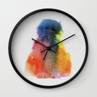 monkey island Wall Clocks featuring Monkey by Andreas Lie