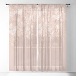 Elegant coral rose gold white ombre floral Sheer Curtain