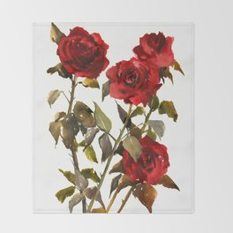 Burgundy Red Roses, deep red floral olive green dark red design roses from garden Throw Blanket