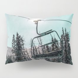 Empty Skilift // Dark Blue and Teal Snowboarding Dreaming of Winter Pillow Sham