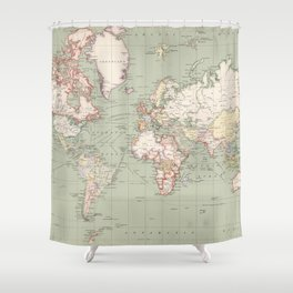 Vintage Map of The World (1915) Shower Curtain
