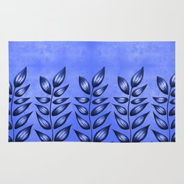 Blue Plant With Pointy Leaves Rug