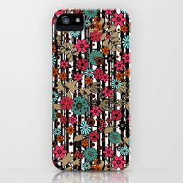 Floral pattern on black and white striped background iPhone Case