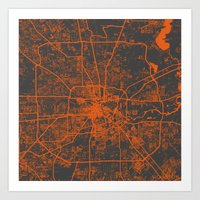 houston Art Prints featuring Houston map by Map Map Maps