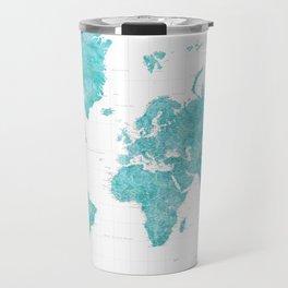 Highly detailed watercolor world map in aquamarine Travel Mug