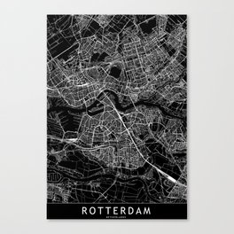 Rotterdam Black Map Canvas Print