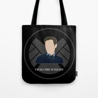 agents of shield Tote Bags featuring Agents of S.H.I.E.L.D. - Fitz by MacGuffin Designs