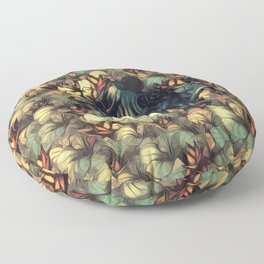 The skull, the flowers and the Snail Warm Floor Pillow