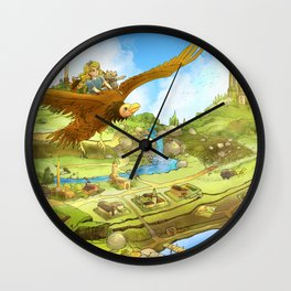 Flying On Polly Over an Enchanted Land Wall Clock