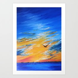 ocean sunset, original oil painting landscape, blue wall art, beach decor Art Print