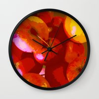apple Wall Clocks featuring Apple by Mr and Mrs Quirynen