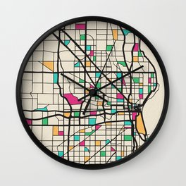 Colorful City Maps: Milwaukee, Wisconsin Wall Clock