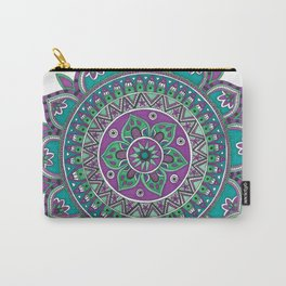 Purple and Green Mandala Art Carry-All Pouch