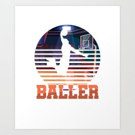 Basketball Coach MVP Dribbling Ring Court Basketball Player Baller Gift Art Print