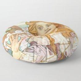 """Alphonse Mucha """"Maude Adams (1872–1953) as Joan of Arc"""" Floor Pillow"""