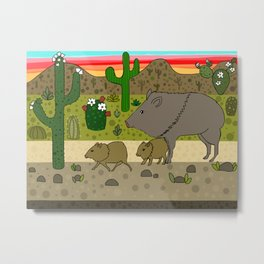 Javelinas in The Sonoran desert Metal Print