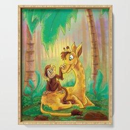 Animal Best Friends - Monkey and Giraffe  Serving Tray