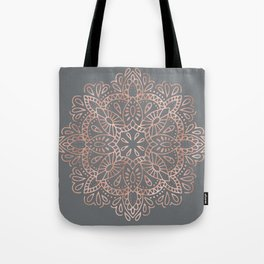 Mandala Rose Gold Pink Shimmer on Soft Gray by Nature Magick Tote Bag