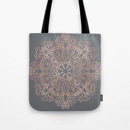 Mandala Rose Gold Pink Shimmer on Soft Gray by Nature Magick Tote Bag